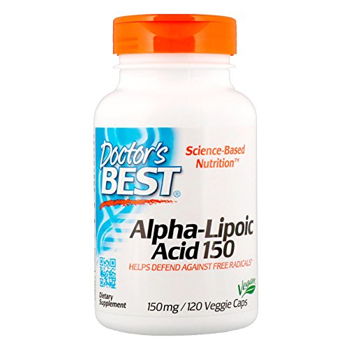 Doctor's Best Alpha-Lipoic Acid, Non-GMO, Vegan, Gluten Free, Soy Free, Promotes Healthy Blood Sugar, 150 mg 120 Veggie Caps