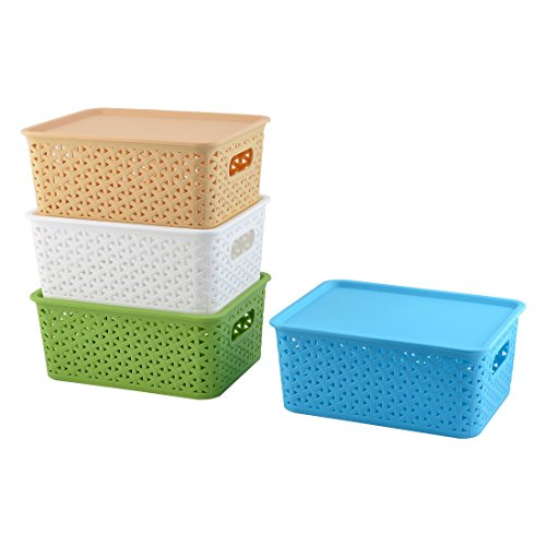 uxcell Plastic Rectangle Family Binaural Sundries Storage Basket 4 Pcs Assorted Color -