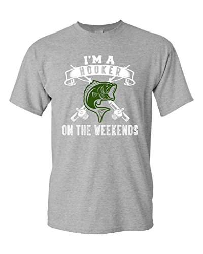Hooker Weekends Fishing Funny T Shirt product image