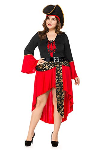 Plus Size Women Carnival Cosplay Halloween Red Skull Pirate Costume Dress (XX-Large, Red) ()