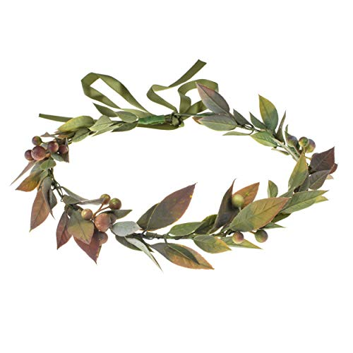 DDazzling Green Leaf Crown Boho Leaf Crown Eucalyptus Halo Wedding Woodland Crown Photo Prop (Berry Lavender Leaf)]()