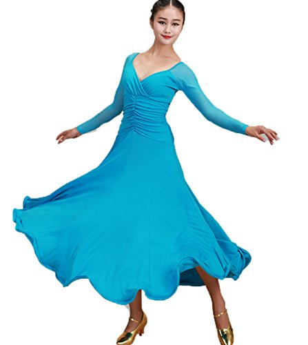 Ballroom Swing Dance Costumes (YC WELL Ballroom Dance Competition Dresses 7colors Rhinestone Competition Dresses Modern Waltz Tango Smooth Ballroom Dance Costumes For Women Flamenco Dresses(Lake blue,XL))