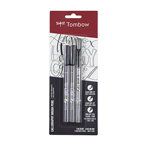 Tombow 62039 Fudenosuke Pen, 3 Pack, Black/Grey