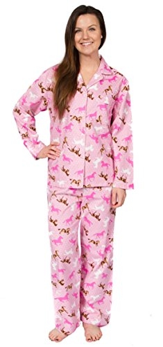 Leisureland Women's Cotton Flannel Pajama Set Horse XL - Ladies Horse