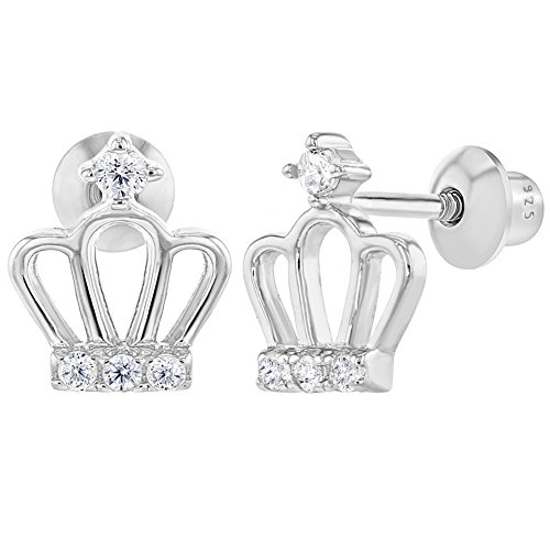 925 Sterling Silver Crown Clear CZ Princess Screw Back Earrings for Girls