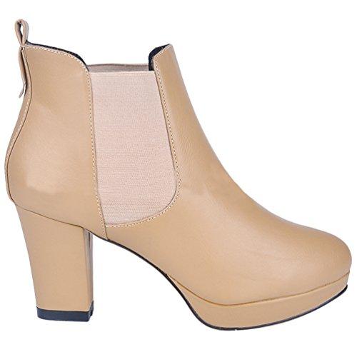Corti Albicocca Scarpe Stivaletti Col Inverno Alto Stringate Boots Elegnate Donna Wanyang Short Tacco Stivali qz0ppO