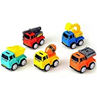 FunBlast Unbreakable Pull Back Vehicles| Construction Mini Power Friction Trucks for 2+ Years Old Boys Girls. (Set of 5)
