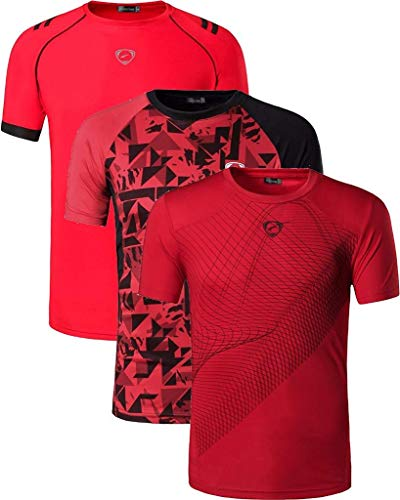 jeansian Homme Sportswear 3 Packs Sport Slim Quick Dry Short Sleeves Compression T-Shirt Tee LSL182