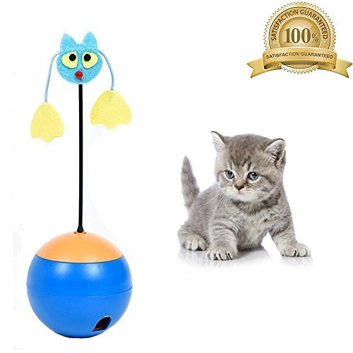 (Wisdom Interactive Cat Toys 3 In 1 Multi Function Automatic Spinning Electric Rotating Ball Tumbler Game Play with Chaser Light and Food Dispensing for Kitty and Kitten Blue)