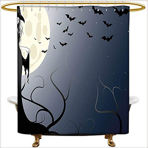 (Qinyan-Home Shower Curtain Wicked Witch in Twilight on High Hill at Hazy Dark Night Magic Fiction Tale Black Yellow. Mildew Bathroom Shower Curtains.W72 x H84)