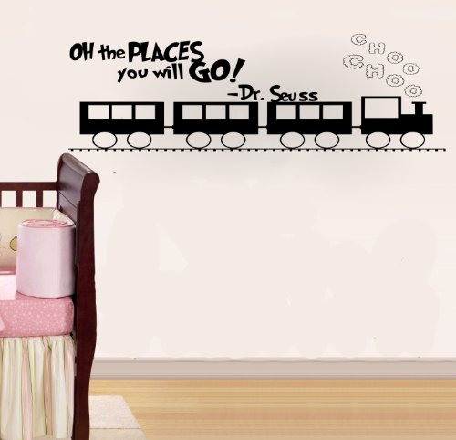 Imprinted Designs Oh The Places You Will Go. Dr Seuss Quote Vinyl Wall Decal Sticker Art (Black, 16