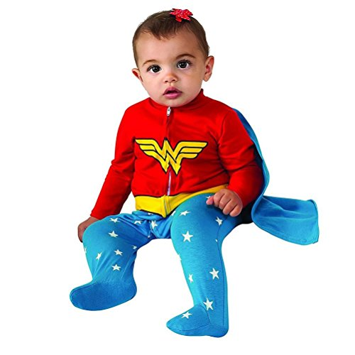 Infant Girl Superhero Costumes (Rubie's Costume Baby Girl's DC Comics Superhero Style Baby Wonder Woman Costume, Multi, 0-6 Months)