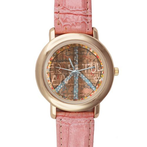 Gifts for girls or ladies Stylish Peace Symbol and Graffiti Pink Leather Alloy High-grade Watch