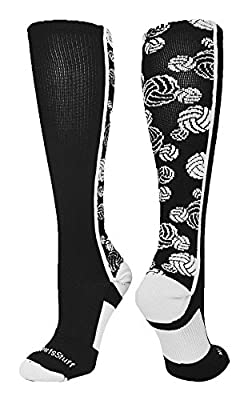 MadSportsStuff Crazy Volleyball Logo Over the Calf Socks (multiple colors) by MadSportsStuff