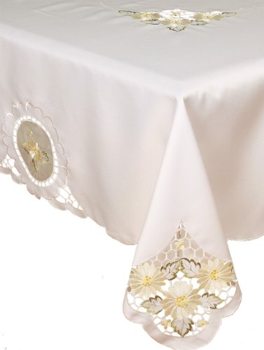 Xia Home Fashions Elegant Daisy Embroidered Cutwork Tablecloth Collection, 70 by 120-Inch