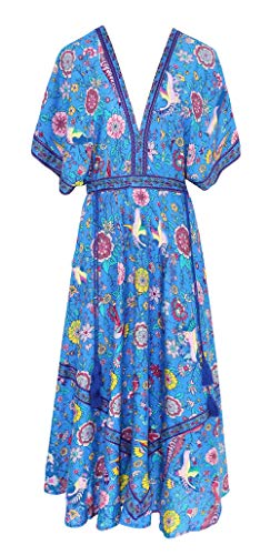 R.Vivimos Women Summer Print Deep V Neck Cotton Beach Midi Dresses (Medium, Blue)