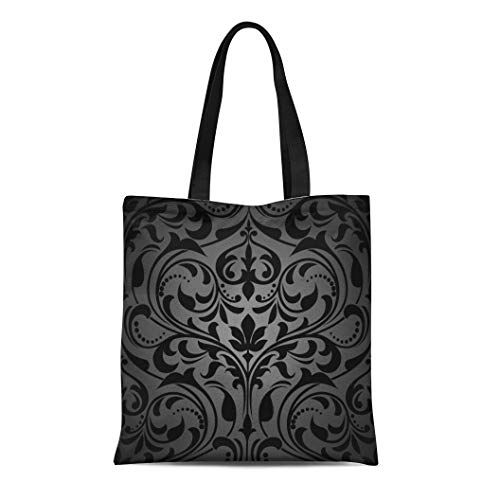 Semtomn Cotton Canvas Tote Bag Gothic Damask Floral Pattern Royal Flowers on Black Victorian Reusable Shoulder Grocery Shopping Bags Handbag Printed