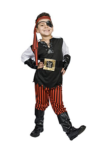 Kids Child Boys Pirate Halloween Costume, Size M 5,6,7,8 Years Old, Ahoy (Scary Pirate Boys Costume)