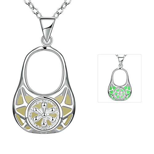 50s Mom Costume (Gnzoe Fashion Bag Shape Pendant Necklace Lumious Glow In Dark with Rolo Chain)