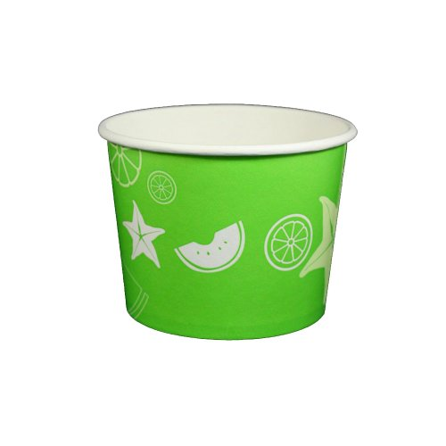 Lime Pattern Paper - 16 oz Yogurt Paper Cups- 1000 Count (Fruit Pattern- Lime Green)