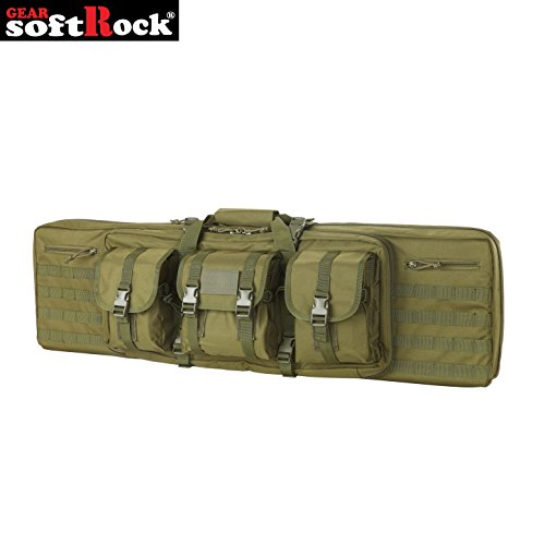 Long Pistol - Softrock Gear ST-SRG-600D-42-ODG Double Rifle Case - Padded Long Gun Case & Rifle Storage Backpack Integrated Pistol Cases and Magazine Storage (OD Green, 42-Inch)