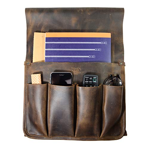 (Hide & Drink, Durable Leather Remote Control & Magazine Holder/Couch Organizer/Sofa Armrest Pouch/Couch Potato Essentials, Handmade Includes 101 Year Warranty :: Bourbon Brown)