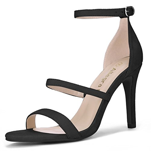 Allegra K Women's Open Toe Triple Straps Stiletto Heel Sandals (Size US 5) Black (Triple Strap Black)
