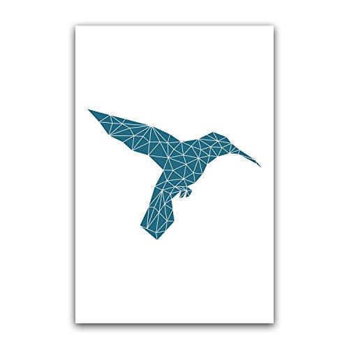 Navy Geometric Hummingbird Colibri Bedroom Poster Decor Gift