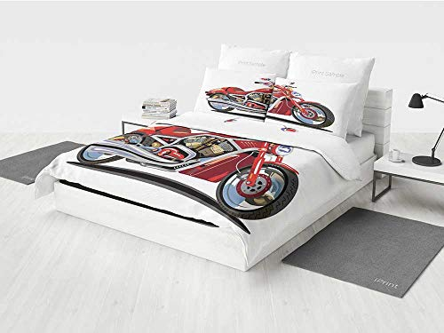 Twin Engine Mosquito (Motorcycle gitl Bedding Set Super Sexy Motorbike with Vivid Color Properties Winged Engine Machine Freedom Printing Four Pieces of Bedding Set Red Silver)