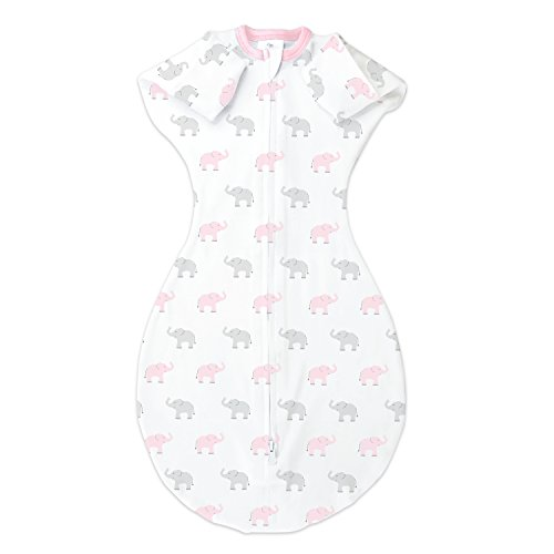Large Product Image of Amazing Baby Transitional Swaddle Sack with Arms Up Mitten Cuffs, Tiny Elephants, Pink, Medium, 3-6 Months (Parents' Picks Award Winner)