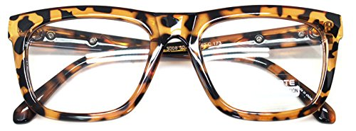 Nerd Geek Retro Square Oversized Horn Rim Classic Eye Glasses Clear Lens Spectacles - Spectacles Square