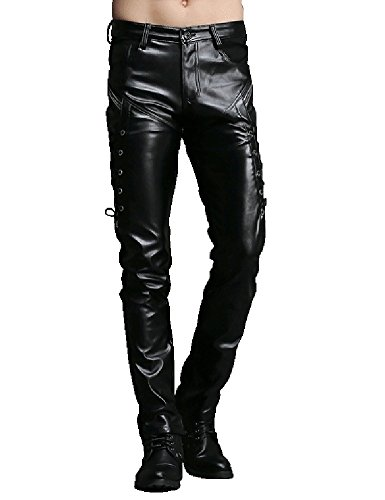 Idopy Men`s Rock Steampunk Lace Up PU Leather Pants Slim Fit (Steampunk Pants Mens)