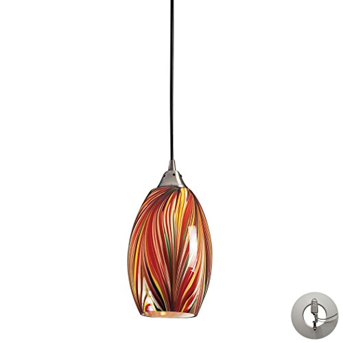 Alumbrada Collection Mulinello 1 Light Pendant In Satin Nickel And Multicolor Glass - Includes Recessed Lighting Kit