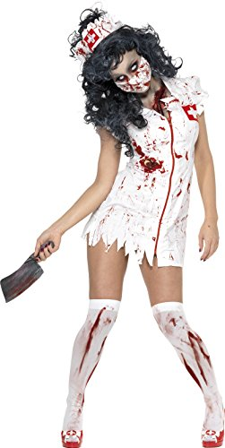 Smiffy's Women's Zombie Nurse Costume, Dress, Mask and Headpiece, National Horror Service, Halloween, Size 6-8, 34132