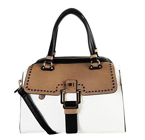 Diophy Womens Faux PU Leather Three Tone Doctor Satchel Women Handbags Purse GS-3103 White