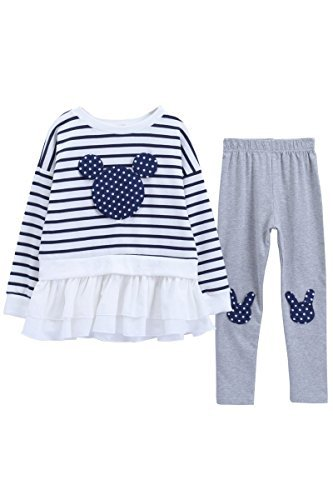 Little Girls Cute Long Sleeve Top & Pant Clothes Set(Navy Stripes,Tag - Shorts Old Navy 7