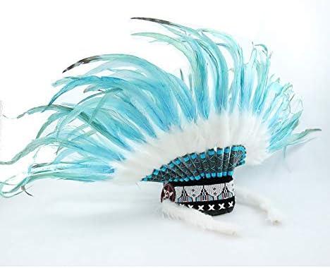 Artisanal Gorro para de Jefe Indio con Plumas Azul Turquesa ...