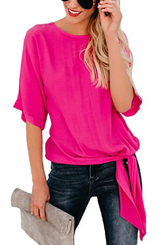 Assivia Womens Blouse Casual Tie Front Knot Loose Fit Half Sleeve Tee Top T-Shirt Blouses (Rose Red, (Casual Half Sleeve)