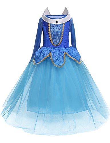 Aurora Princess Dress Girls Party Carnival Cosplay Fancy Costume Size (110) 3-4 Years Blue