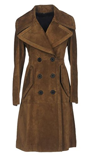 Breasted Lapel Slim Suede Long Trench Coat Coffee L ()