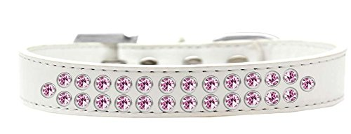 Mirage Pet Products Two Row Light Pink Crystal White Dog Collar, Size 20 by Mirage Pet Products