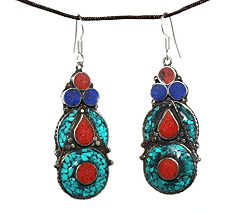 Coral Lapis Turquoise Earring, Tibetan Earring Boho Earring Bohemian Earring Tibet Earring