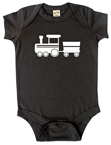 - Transportation Silhouette Baby Bodysuit Graphic Shirts-Train (18-24m, Charcoal)