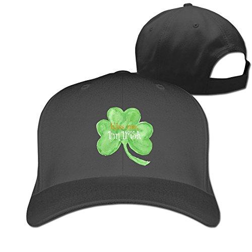 (DMN Unisex Kiss Me I'm Irish Baseball Hip-hop Cap Vintage Adjustable Hats for Women and Men Black,One Size)