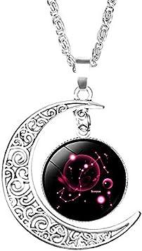Qinlee Douze Constellations Collier Femme Pendentif Cha/îne Claviculaire Bijoux Fantaisie Colliers pendentifs Forme de la Lune Soleil Cha/îne Long 50cm Alliage B/élier