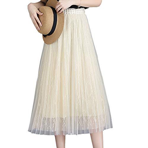Soie Midi Plisse Club Unique E Beige Mousseline de Taille Girl Jupe FS6830 wqHv0IA