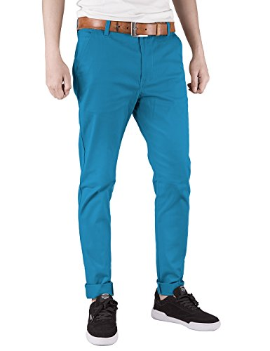 Italy Morn Men Chino Pants Khaki Slim Fit Stretch Cotton Twill Dress Trousers Black (XL, Light Sky Blue)