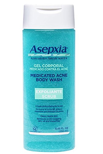 Asepxia Shower Gel Acne Blackhead Pimple Treatment & Exfoliating Scrub with 2% Salicylic Acid, 8.5 Fluid Ounce