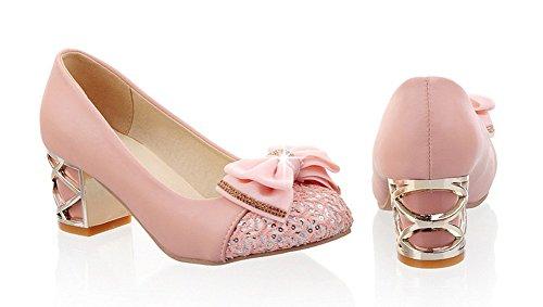 Aisun Pink Bowknot Pumps Chunky Heels Mid Shoes Dress Womens Sweet rzq0rE