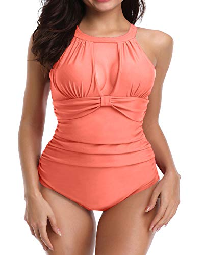 (I2CRAZY Tummy Control Swimwear One Piece V Neck Mesh Swimsuits High Waisted Banthing Suits - M, Orange )